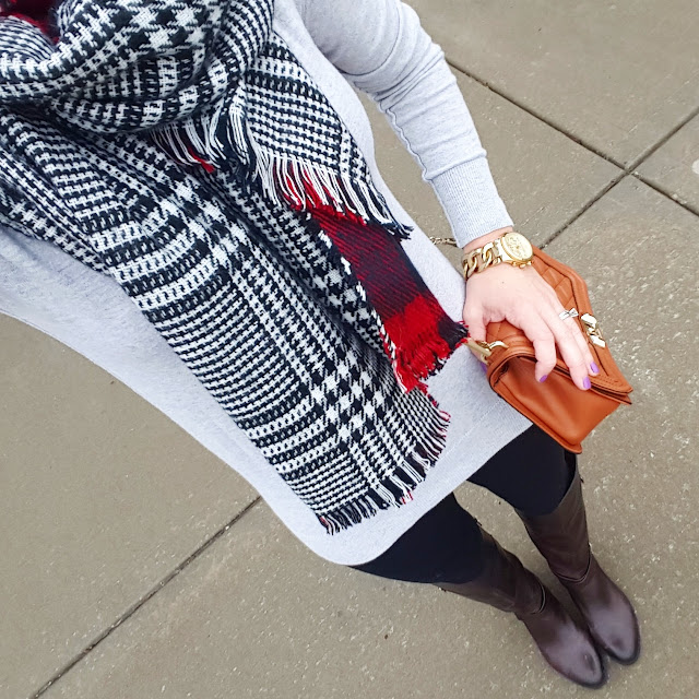 American Eagle Sweater (similar - 60% off!) // ILY Couture Scarf - only $14, regular $38! // Zella Live In Leggings - they are 25% off in bright blue and navy // Vince Camuto Jaran Riding Boots // Rebecca Minkoff Handbag (more handbags on sale here) // Michael Kors Runway Watch