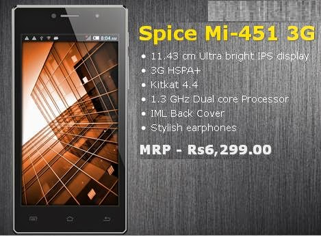 Spice Mi-451 3G price India image