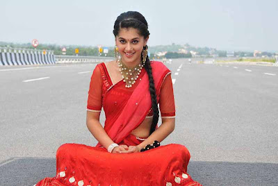 tapsee unseen in red sareepink dress