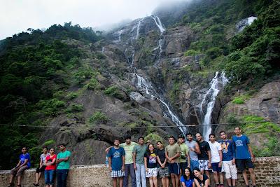 Group photo at Dudhsagar Water Falls