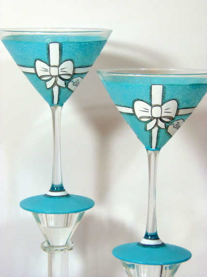 Tiffany Box Painted Martini Glasses