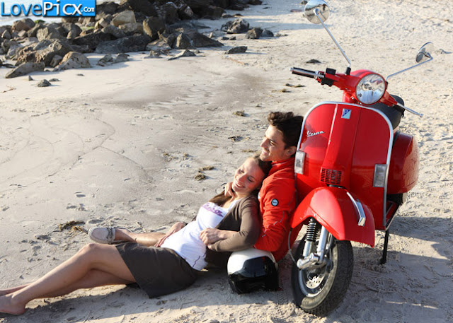 Love Couple Romantic Hug Beach Vespa