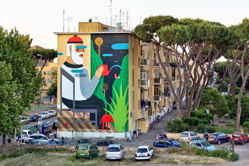 While we last heard from him earlier this month in Arce (covered), Agostino Iacurci is back in Rome where he just wrapped up this new piece for the Sanba Street Art Festival.