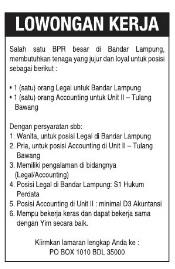 Lowongan Kerja BANK Perkreditan Rakyat Oktober 2015 di Lampung