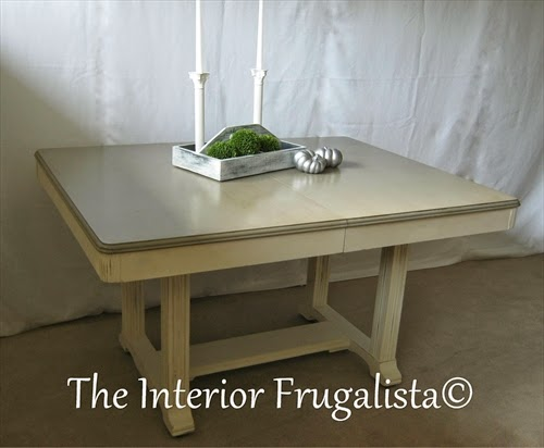 Vintage Dining Table Makeover without extension leaf to seat 6
