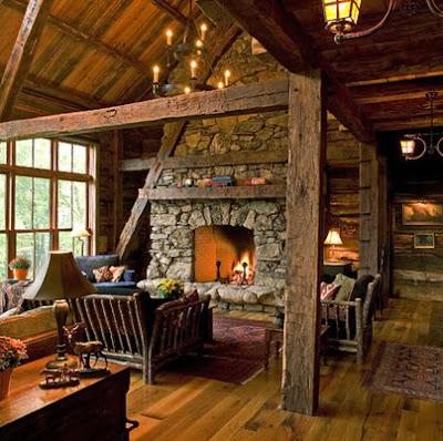 Sala rústica de madera y piedra