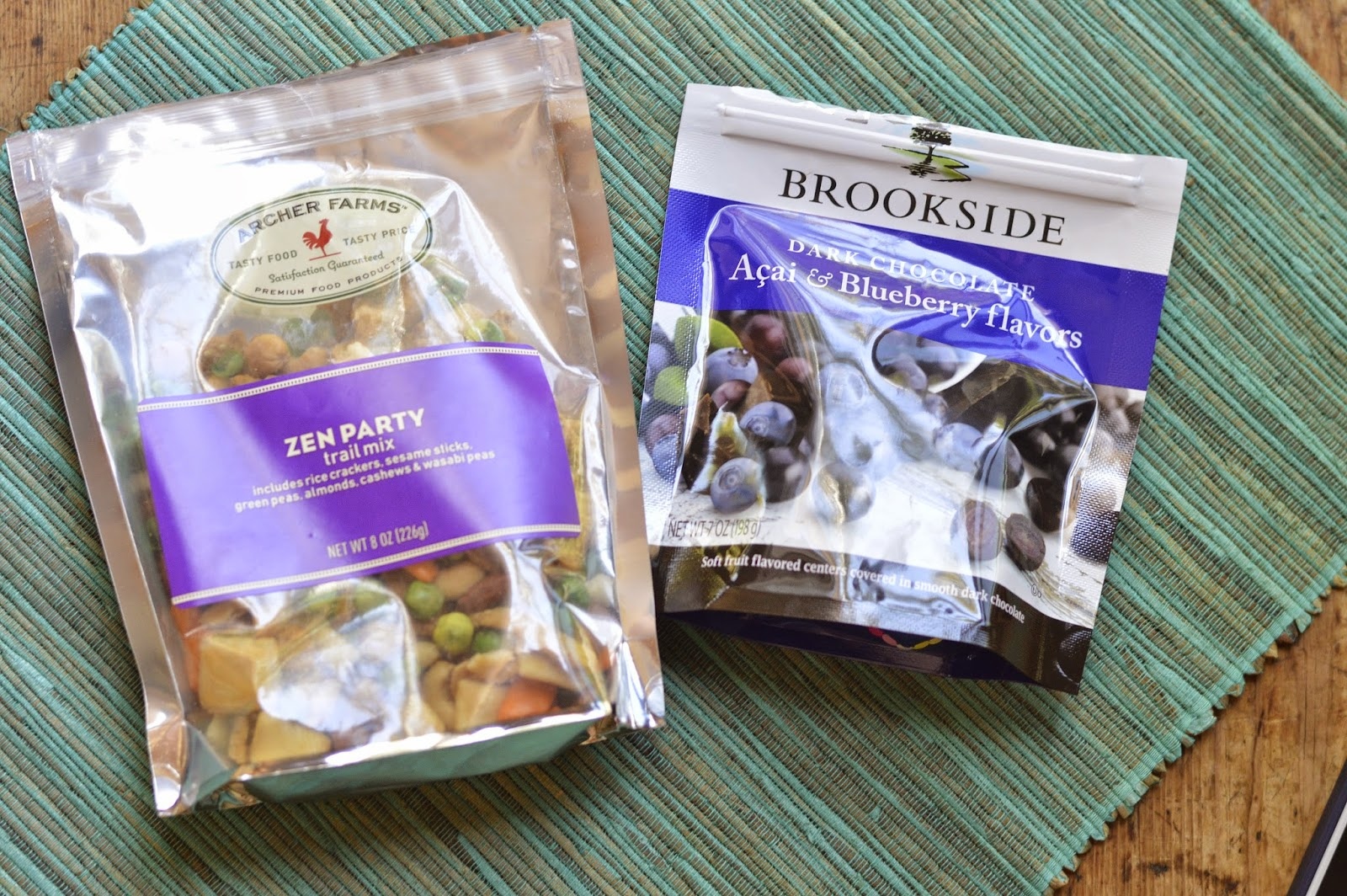 Asian snack mix, dark chocolate acai berries