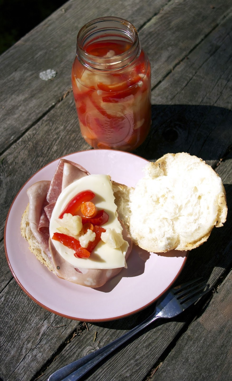 Giardiniera on a Muffuletta Sandwich- simplelivingeating.com