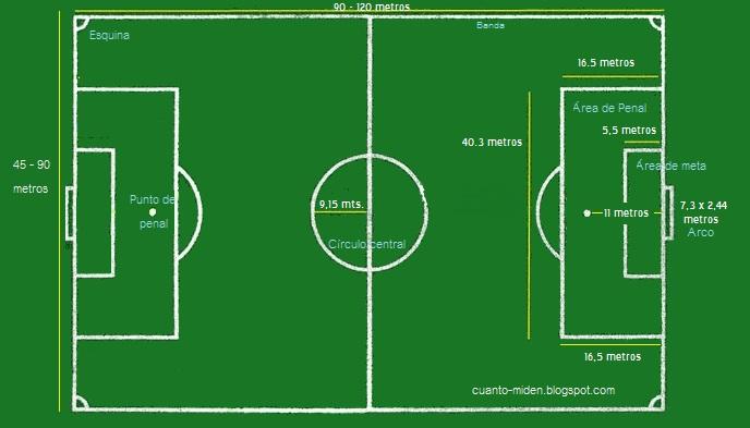 Cu nto mide cuanto mide una cancha de futbol for Pista de futbol sala medidas