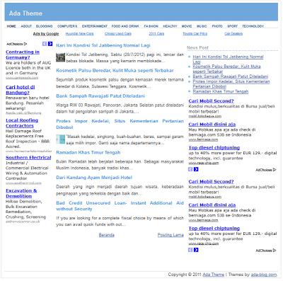 Ada Blogger Template dành cho Adsense