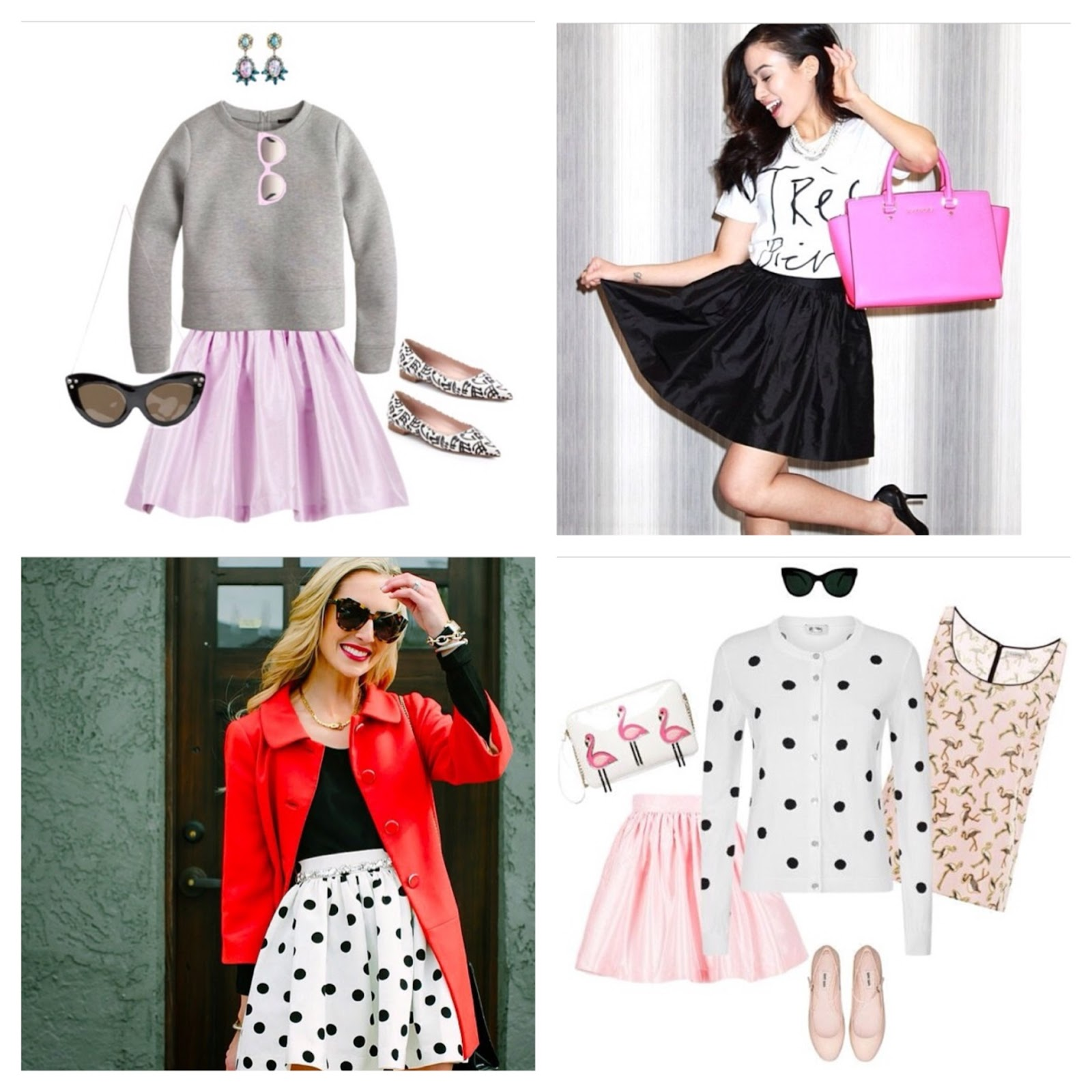 party skirts, polyvore polka dot skirt flat lay collage