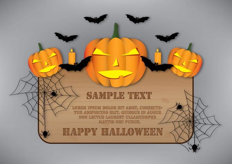 Halloween wooden banner design
