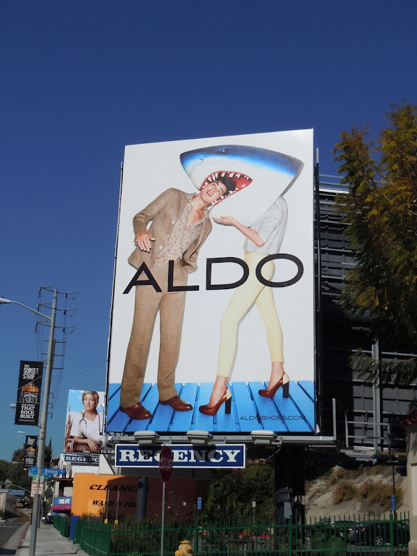 Aldo shark head billboard
