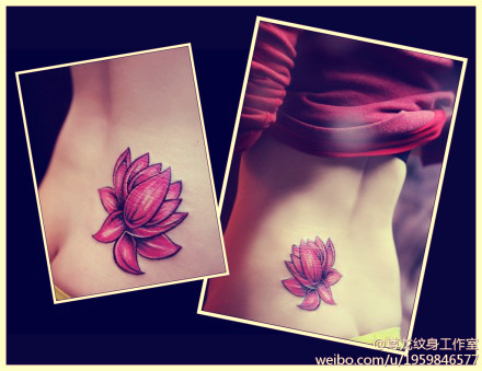 sexy red lotus flower tattoo lower back