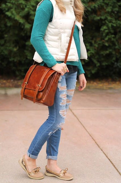 teal sweater, white puffer vest, houndstooth hat, distressed jeans, sperrys