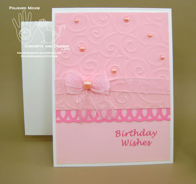 My handmade girly pink birthday card and handmade envelope set.
