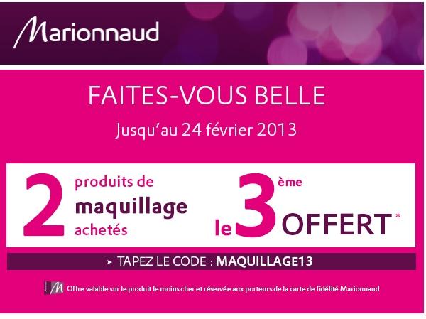 Marionnaud: 3ème produit de maquillage offert