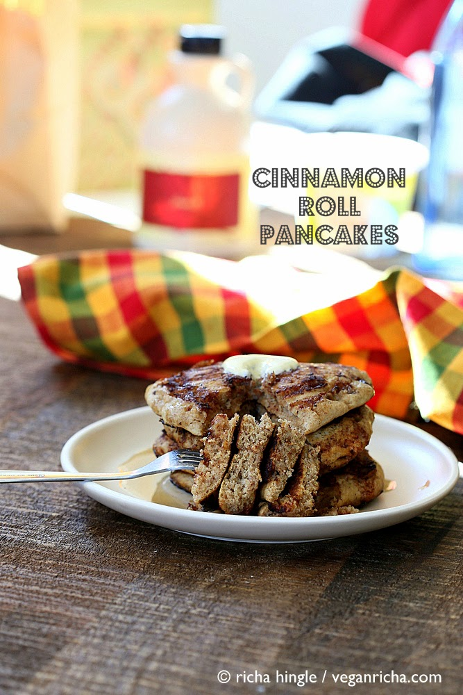 Vegan Multi-grain Cinnamon Roll Pancakes