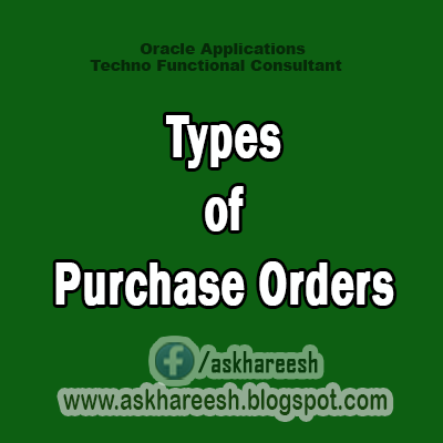 Types of Purchase Orders,AskHareesh Blog for OracleApps