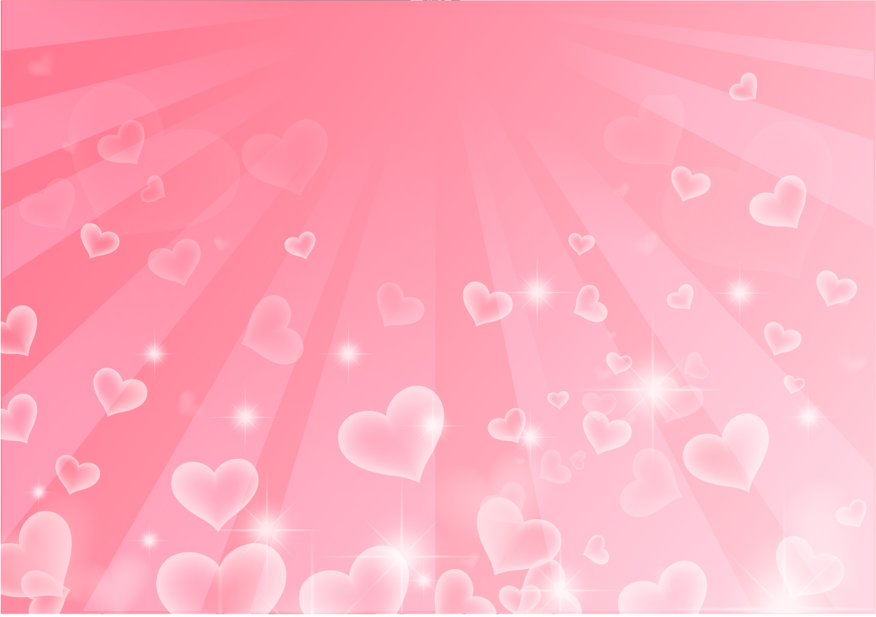 輝くピンクのハートが降り注ぐ背景 Hearts background イラスト素材