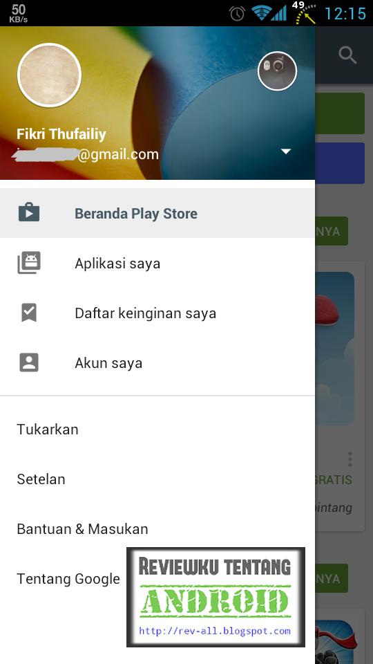 1 Tap menu kemudian tap AKUN SAYA (rev-all.blogspot.com) cara menambahkan tagihan akun indosat di playstore Android