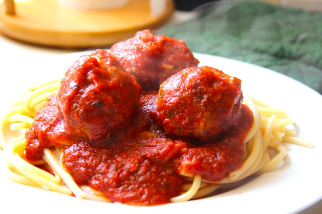 Food and the City: sausage meatballs in tomato & basil sauce.