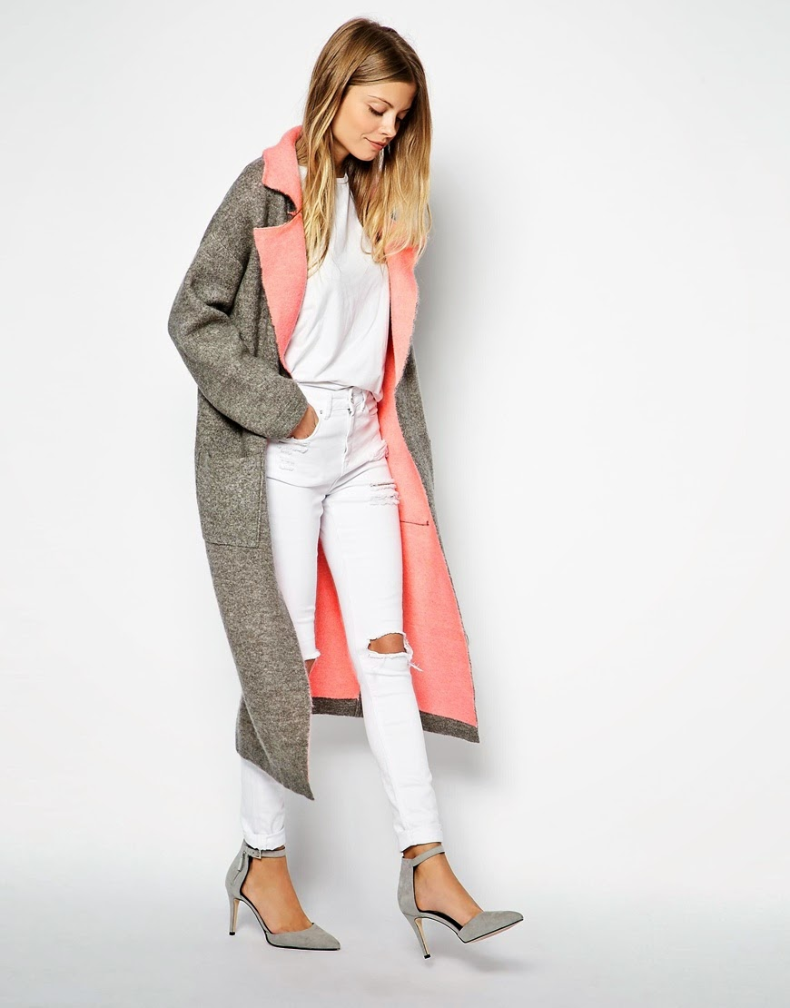 grey coat with pink lining ,