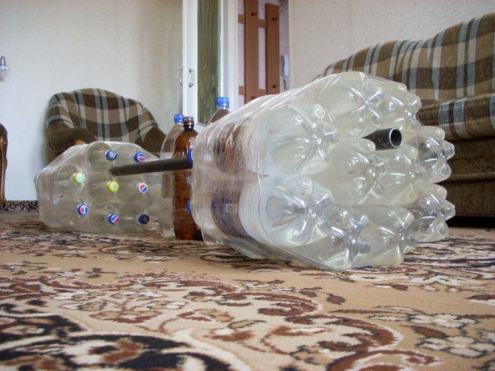Штанга из пластиковых бутылок