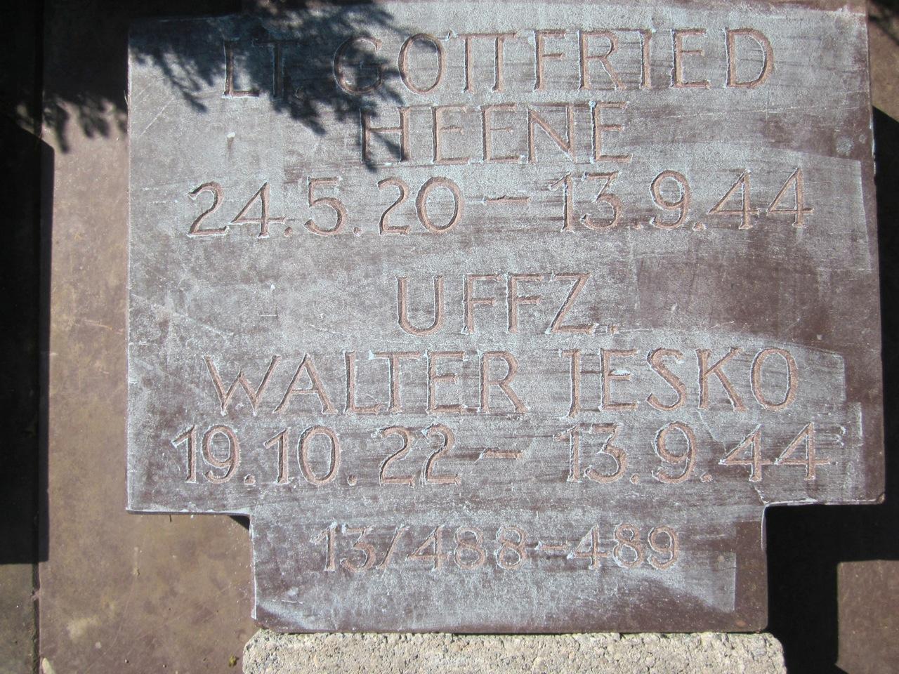 KIA Aviator Ju-188 luftwaffe tombstone costermano Ltn. Gottfried Heene Uffz. Walter Jesko