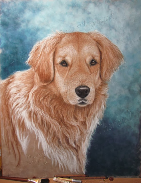 Dog fur progress of pet portrait painting commission by Colette Theriault