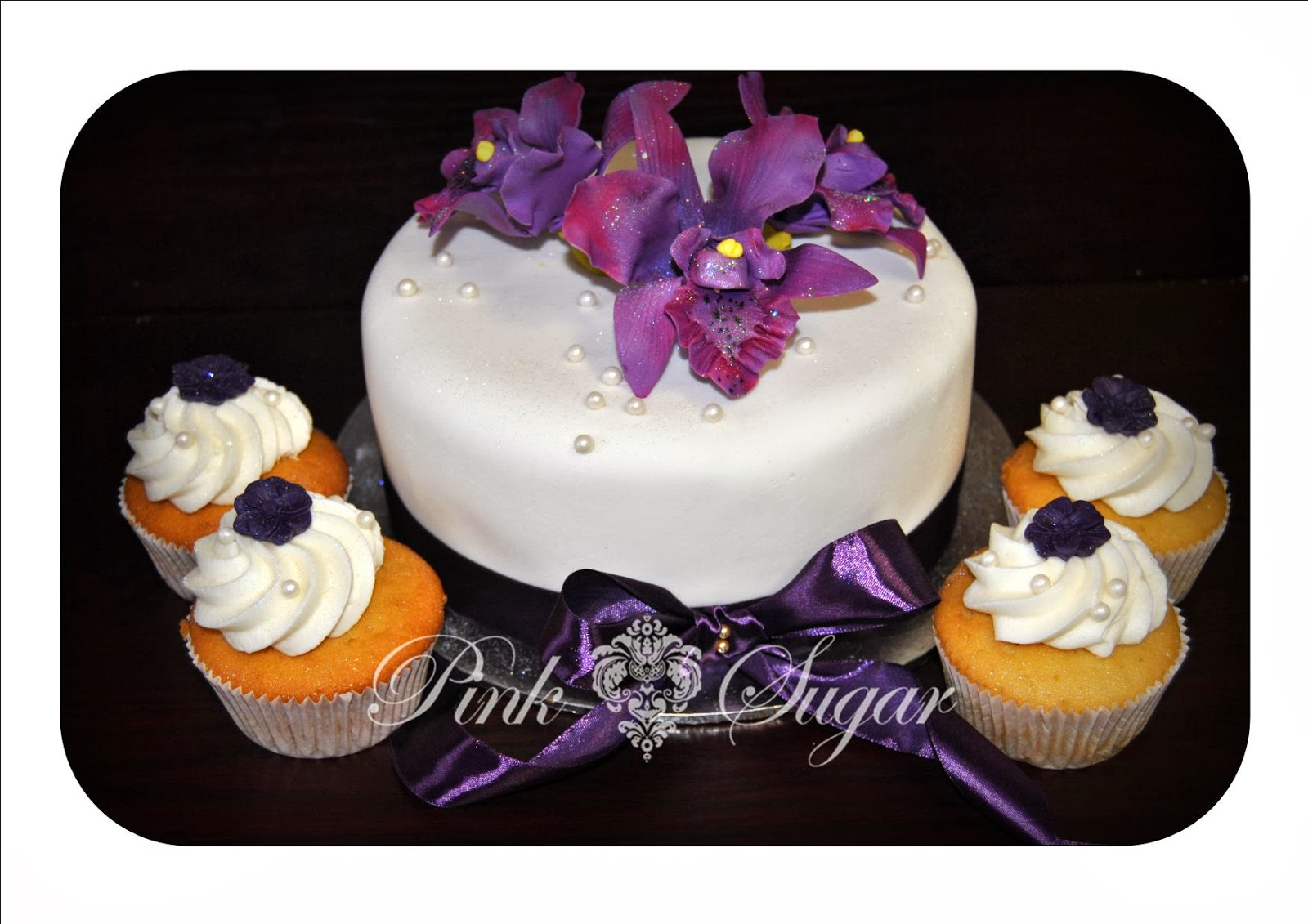 Pink Sugar Purple Orchid Wedding Cake & Cupcakes
