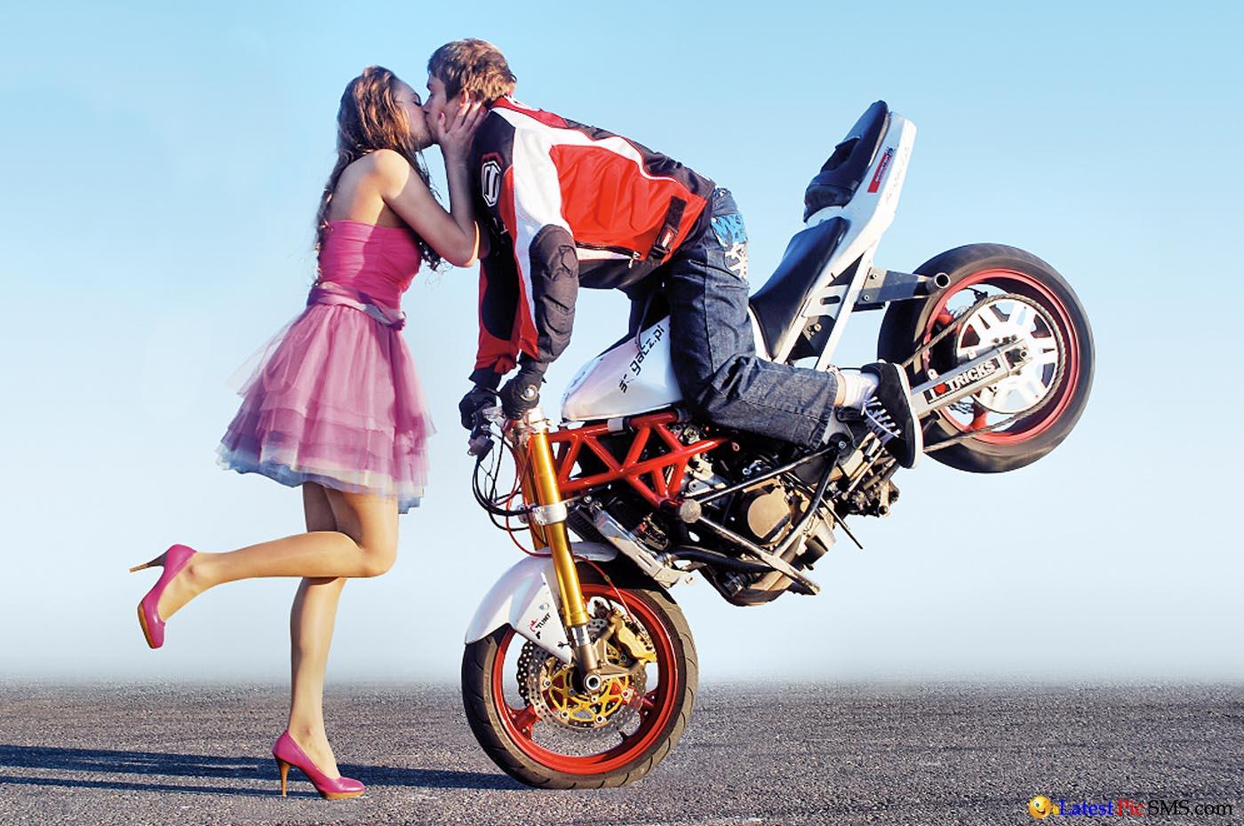 Beautiful Kissing scene on bike