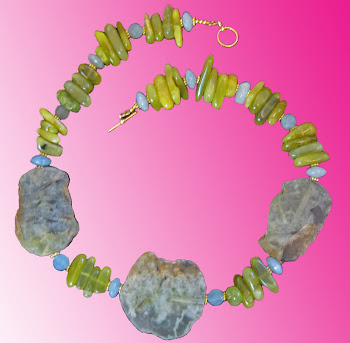Natural Organic Green Garnet Natural Jade And Aquamarine Stone Medley Necklace L