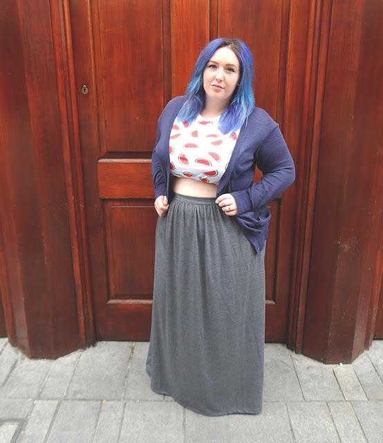 blue cardigan white watermelon shirt and maxi skirt