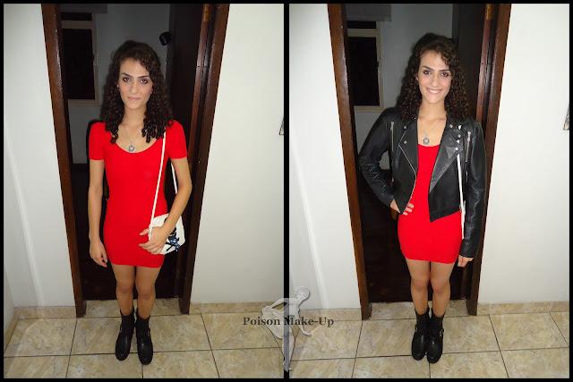Look com um vestido vermelho coladinho, um coturno baixinho para quebrar o ar sexy e uma jaqueta de couro para dar uma descolada ao look.