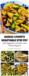 Garlic-Lover's Vegetable Stir Fry Recipe with Eggplant, Zucchini, and Yellow Squash (Low-Carb, Gluten-Free) [from KalynsKitchen.com]