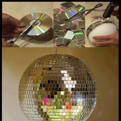 globo de luz feito com cds reciclagem