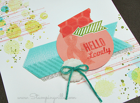 Trendy arrows, splatters, and washi tape are featured on this lovely grunge card