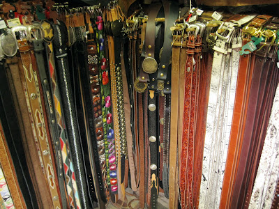 Belts of all colors and sizes, of course made out of leather at Native Leather in New York City