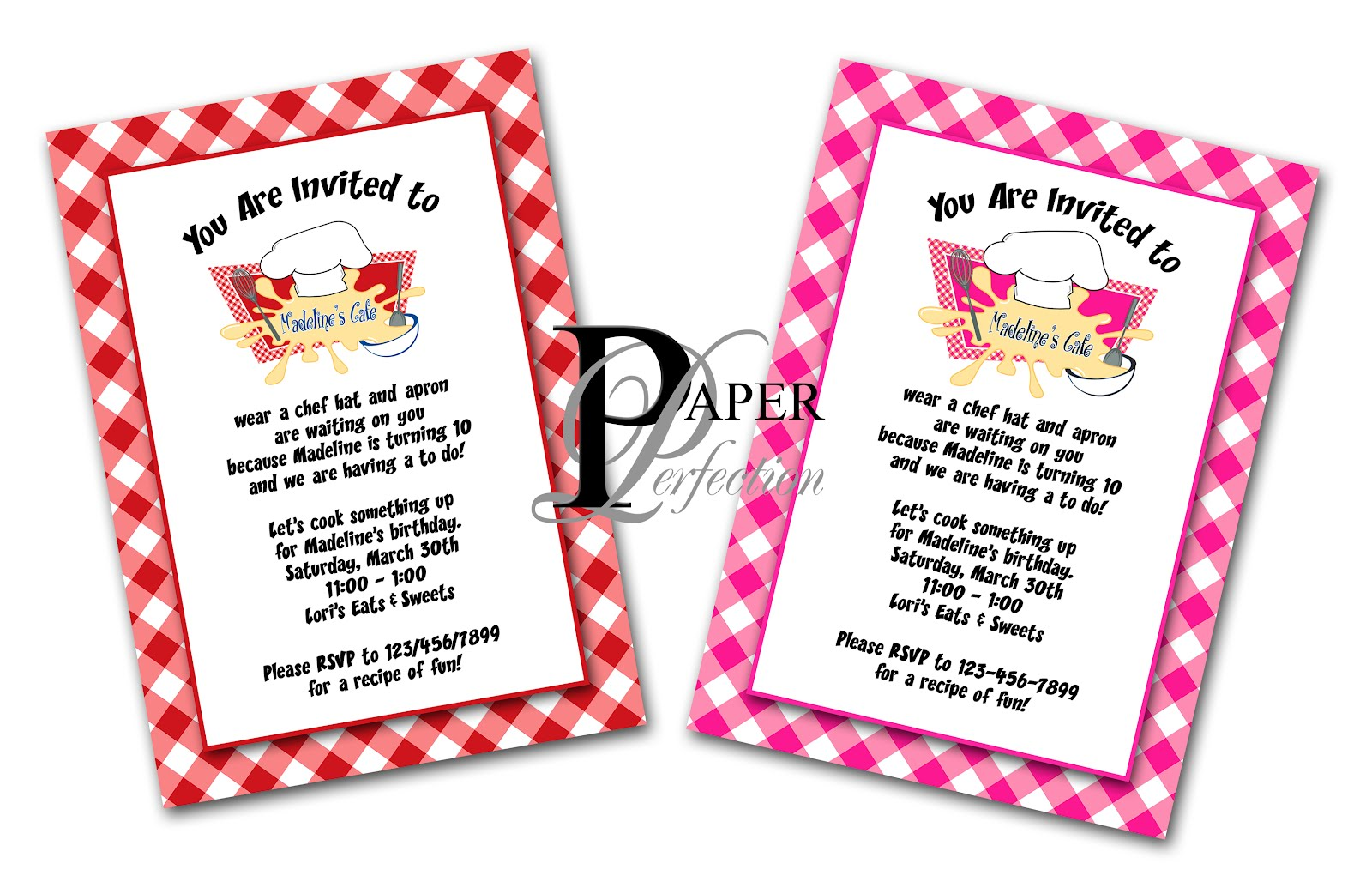 Paper Perfection: Cooking / Chef Party Invitation