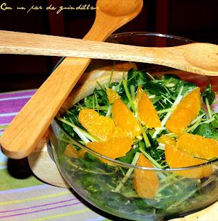 Ensalada de berros y naranja con vinagreta de curry