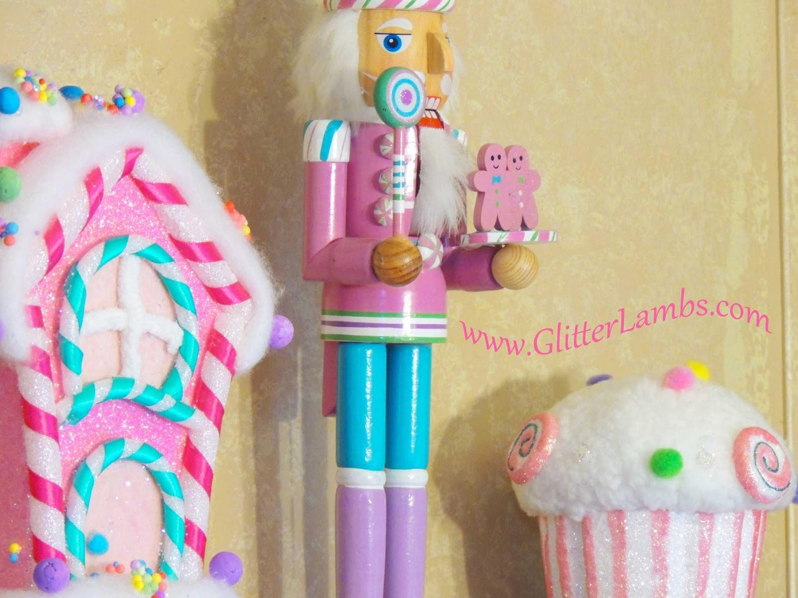 Pink Nutcracker Decoration Glitter Lambs