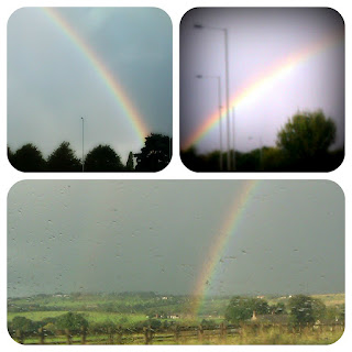 three pictures of rainbows