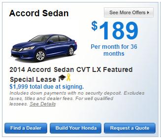 Honda Offers Accord Sedan 2014 Accord Sedan CVT LX Featured Special Lease