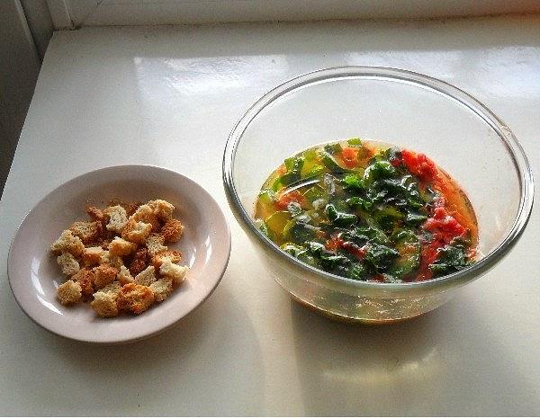 Окрошка из замороженных овощей
