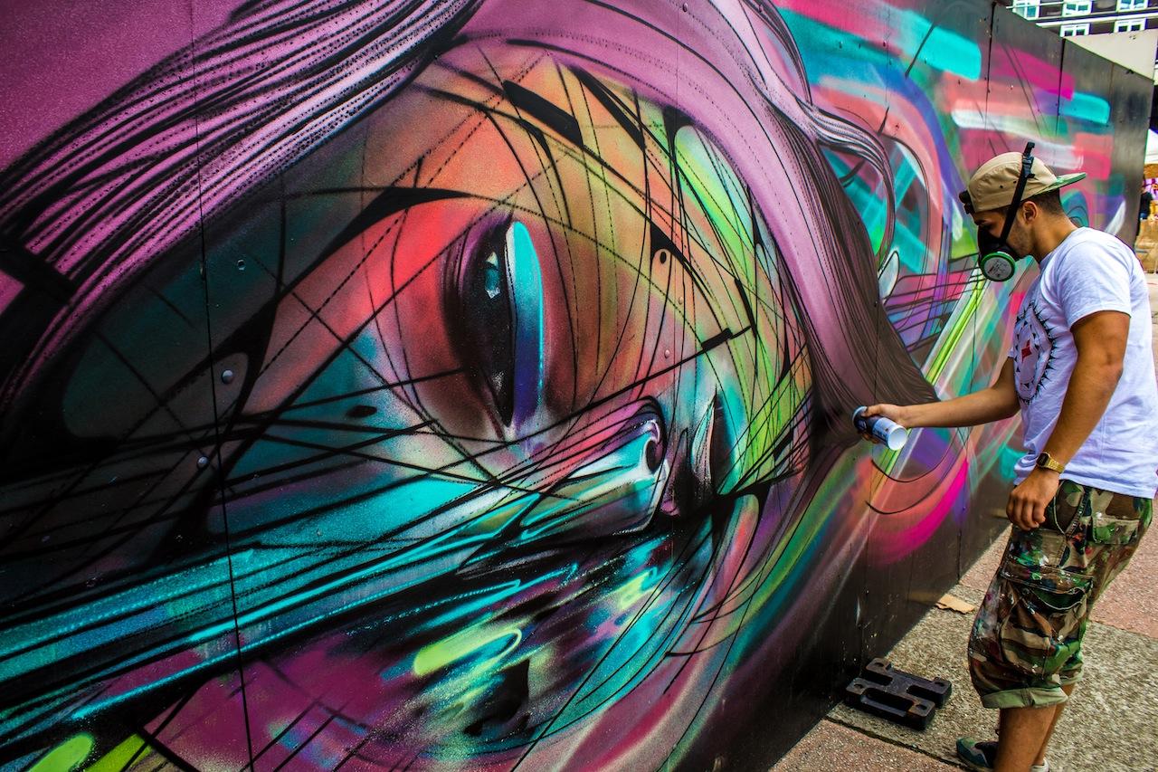 French Street Artist Hopare In Cergy, France For The Cergy Soit Street Art  Festival.