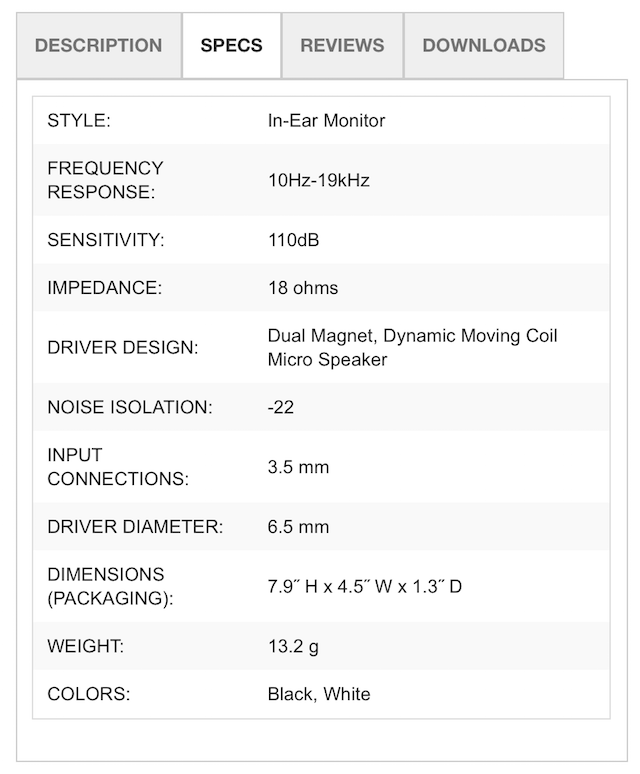 Technical specifications of the Klipsch R6i In-Ear Headphones