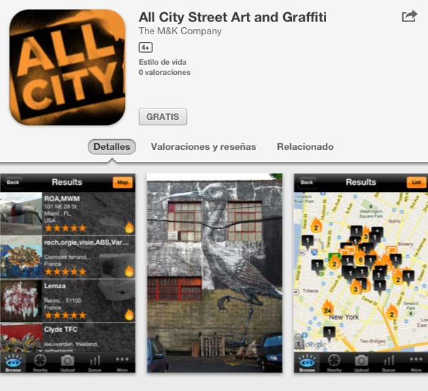 aplicaciones arte All City Street Art and Graffiti smartphone tablet apps