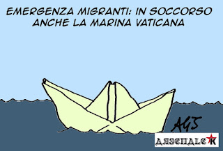 Papa Francesco, migranti, vignetta, satira