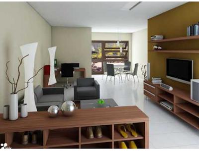 perabotan rumah modern dengan vas bunga